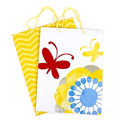 Hallmark Large Gift Bags (Yellow Chevrons and Flowers with Butterflies, 2 Pack) - Flowers And Gifts