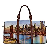 United States Women's Travel Bag,New York City Skyline Over East River Brooklyn Bridge Twilight Decorative for Ladies,18.62'L x 8.5'W x 9.65'H