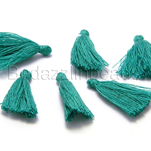 6 Little 1 1/4 inch Long Mini Cotton String Tassel Embellishment Charms (Teal Blue)