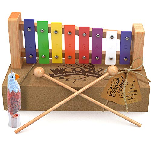 AGREATLIFE Wooden Xylophone | Child-Safe Kids Xylophone That Produces Harmonious Sound with Eagle Whistle - Well Crafted Package for The Classic Xylophone Designed for Presents