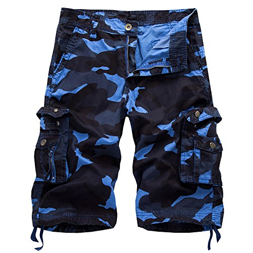 Mens Cotton Relaxed Fit Fit Outdoor Camouflage Camo Cargo Shorts(Blue,38)