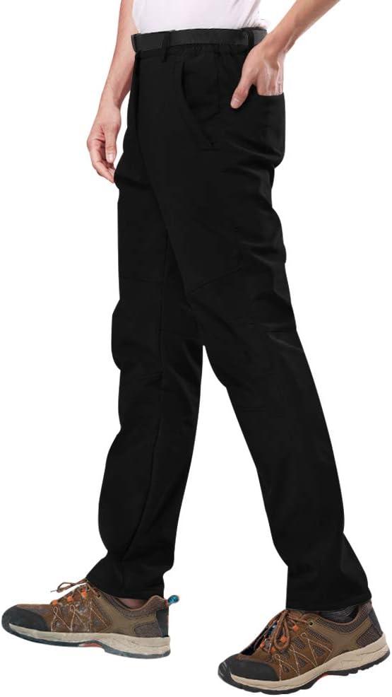 Pantalon Doubl/é /Élastique Pantalon Softshell Pantalon de Trekking Dext/érieur /Épaissi avec Ceinture /Élastique Imperm/éable Respirant SANMIO Pantalon Homme Chaud Coupe-Vent