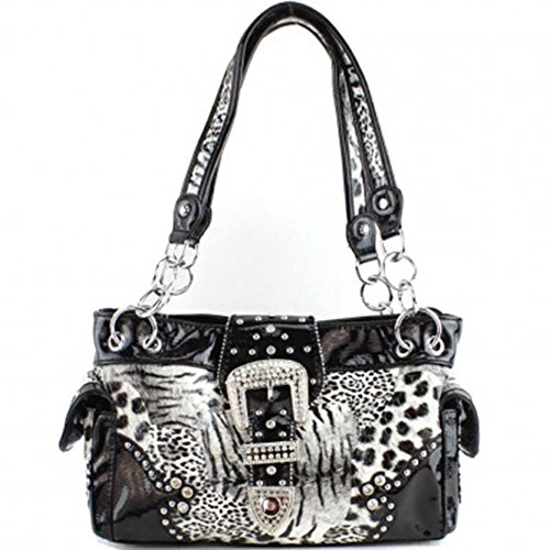 Western Rhinestone Buckle Leopard Print Conceal Carry Pocket Purse (Black)
