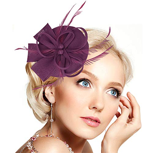 Accessories Fashion Purple (Legnaus Fascinators for Women Feather Fascinator Hats Women's Pillbox Hat for Wedding Church Deryby Tea Party)