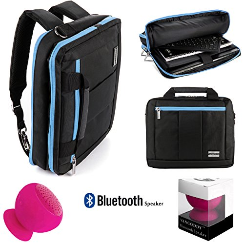 Price comparison product image Executive Travel Carrying Bag,  Messenger Bag & Backpack For 14 to 15.6 inch Laptop Notebook Ultrabook Convertible Computers + Pink Bluetooth Suction Speaker