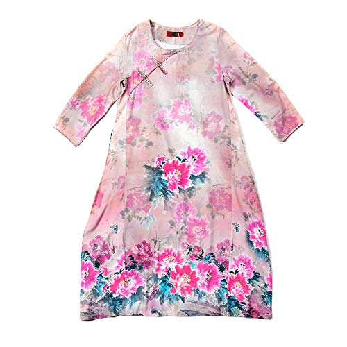 DISSA Party Kleider 3 Cocktail Rosa Leinen Damen Retro Baumwolle Q32345 Kleid Maxi Feiertagskleid 4 Lose Arm 7pn7rqAxF