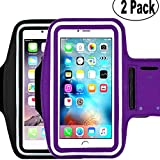 [2pack] Sports Armband,iBarbe Cell Phone Holder Case Arm Band Strap Pouch/Mobile Exercise Running Workout Apple iPhone 6 6S 7 8 X Plus Samsung Galaxy S5 S6 S7 S8 S9 Note 4 5 Edge-Black+Dark Purple
