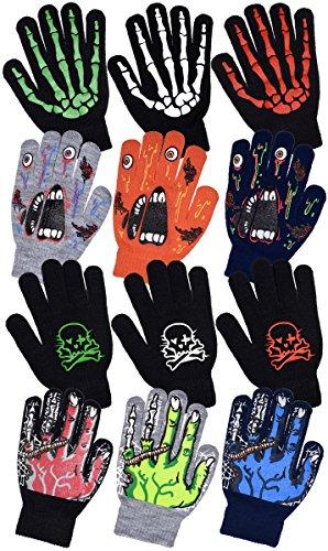 Boys Scary Skeleton & Monster Knit Glove Sets