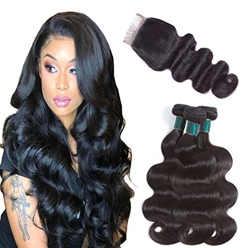 Miss Flower Brazilian Body Wave Bundles with Closure 8A Brazilian Virgin Hair with Closure Human Hair Bundles with Lace Closure Free Part