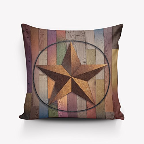 Lone Star Throw (Western Country Southwestern Primitive Rustic Wooden Lone Star Five Point Antiqued Look Army Military Armed Forces Print Home Accent Pillow Cover Case two sides 24x24inch)