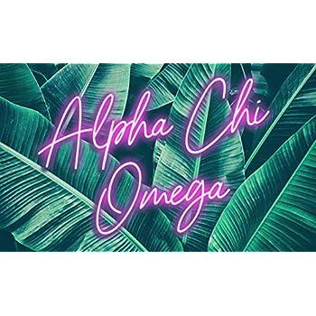 Amazon.com: Alpha Chi Omega - Pancarta con diseño de flor ...