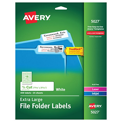 - Avery White Extra-Large File Folder Labels for Laser and Inkjet Printers with TrueBlock Technology, 15/16 inches x 3-7/16 inches, Pack of 450 (5027)
