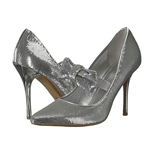 Michael Kors Paris Silver Sequin Mary Jane Pointy Toe Pump Heels 9