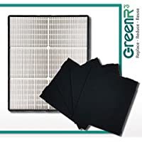 GreenR3 Air Purifier True HEPA Air Filter + 4 Replacement Carbon Filters for Whirlpool 1183054 1183054K 83375 83376 AP45030K AP51030K fits AP-300 and more