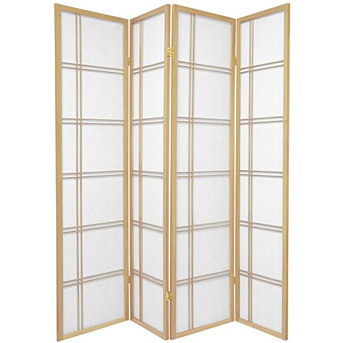 (Oriental Furniture 6 ft. Tall Double Cross Shoji Screen - Natural - 4 Panels)