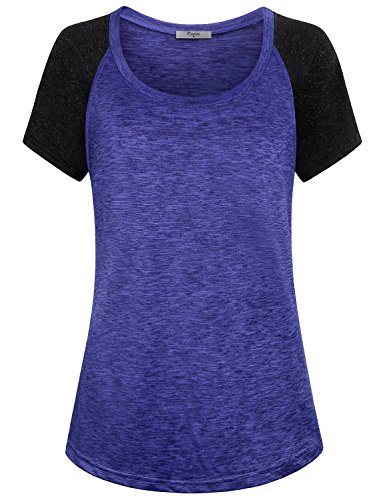 - Cestyle Sports Tunics for Women, Juniors Sportwear Baseball Crewneck Contrast Semi-Sleeve Thin Moisture Wicking T-Shirt Active Nice Weight Loose Fitness Plain Crossfit Tops Blue XX-Large