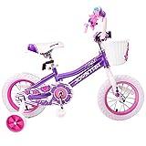 JOYSTAR 12 Inch Purple Kids Bike for Girls 2-4 Years with Training Wheels & Basket & Bike Streamers, 12 inch
