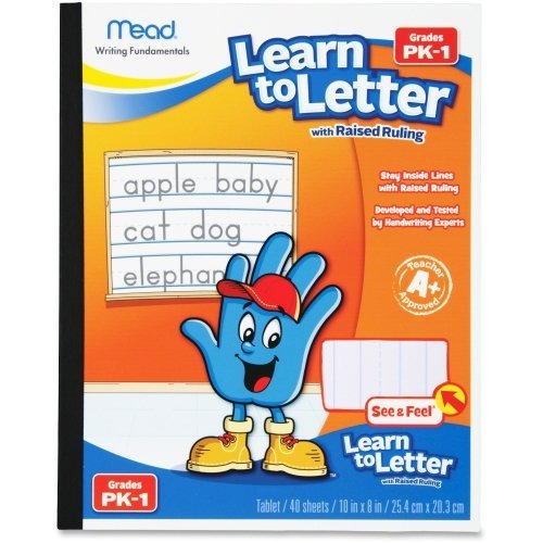 Mead Learn to Letter with Raised Ruling Writing Tablet, 40 Sheets of 8 X 10-inch, White (MEA48170-SN) by (Raised Ruling Writing)