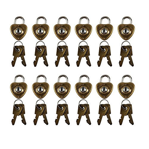 12PCS Vintage Antique Style Mini Heart Shaped Padlocks Key Lock with Keys by CSPRING