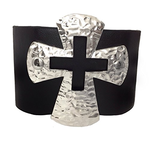 Black Wide PU Leather Wrap Snap Bracelet with Silver Tone Hammered look cross (Biker Chick Costumes)