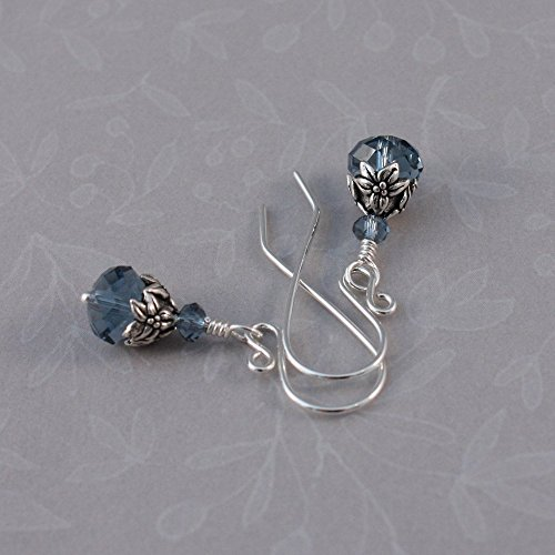Sterling pierced earrings, handmade, Swarovski Denim Blue and TierraCast Jasmine