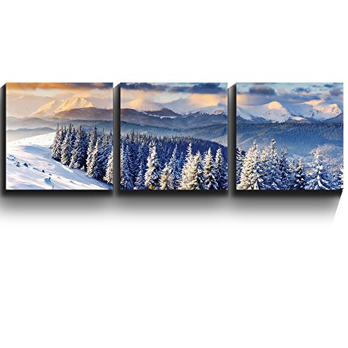 3 Square Panels Contemporary Art Snowy mountain silent winter scene Three Gallery ped Printed Piece x3 Panels
