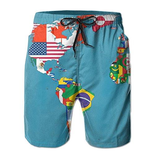 8d3d8cd231422 Beach Shorts World Map Print Men's Summer Beach Short Quick-drying Swim  Trunks Cargo Shorts