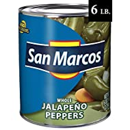 San Marcos Whole Jalapenos, 6 Lb, 97 Oz, Carefully Handpicked Whole Jalapeños Peppers, Premium Whole Jalapeno Peppers From Mexico