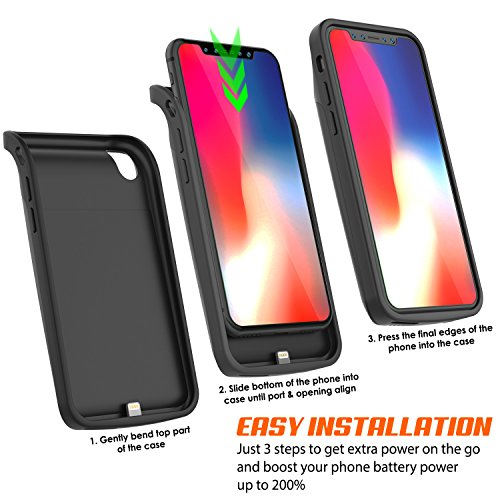 iPhone X Battery Case, PunkJuice 6000mAH Fast Charging Power Bank W/ Screen Protector | Integrated USB & Lightning Port | Slim, Secure and Reliable | Designed for Apple iPhone 10 [Black] by punkcase (Image #5)
