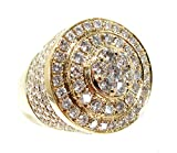 14K Gold Genuine Authentic 3.65 Carat (cttw) Diamond Mens Heavy Mayan Pinky Ring (10.5)