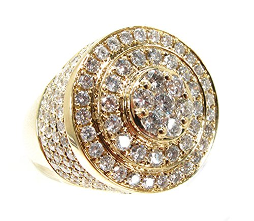 14K Gold Genuine Authentic 3.65 Carat (cttw) Diamond Mens Heavy Mayan Pinky Ring (9) by Traxnyc