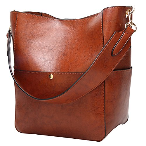 - Molodo Women's Satchel Hobo Top Handle Tote Shoulder Purse Soft Leather Crossbody Designer Handbag Big Capacity Bucket Bags Brown