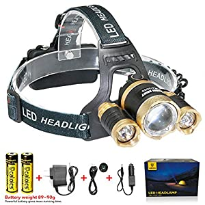 C CALOICS Zoomable Headlamp 5000 Lumen with 1 XML T6 LED and 2 XPE LED Super Bright Flashlight Perfect Hands-free Rechargeable & Waterproof Work Light