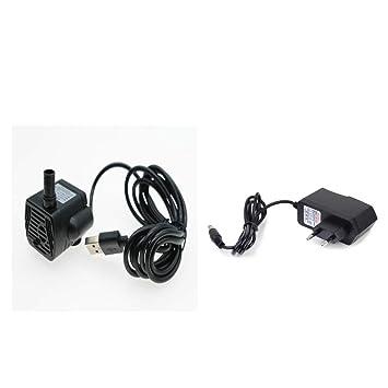 Homyl 5V Mini Bomba de Agua Acuario con Conector de USB y Adaptador de Alimentación de Alta Seguridad para Refrigeración por Agua de Ordenador: Amazon.es: ...