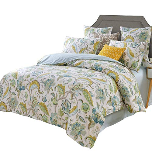 - SexyTown Floral Leaves Print Duvet Quilt Cover Farmhouse Egyptian Cotton Bedding Set 800 Thread Count (Cal King, Z)