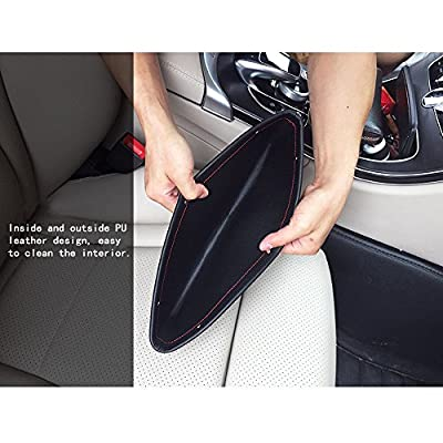 Anynow Car Seat Gap Filler Console Side Pocket Organizer Seat Catcher Premium PU Leather 2 Pack(Black): Automotive