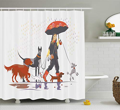 Ambesonne Dog Lover Decor Shower Curtain Set, Young Modern Girl Taking Pack of Dog for A Walk in The Rain Fun Joyful Times Artsy Print, Bathroom Accessories, 69W X 70L Inches, White Brick Red