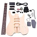 Yibuy Basswood Maple WT-2 6 String Electric Guitars DIY Kit Set Body Pickguard Humbucker Pickup Bridge Tuning Pegs Neck Knob for Guitar Builder