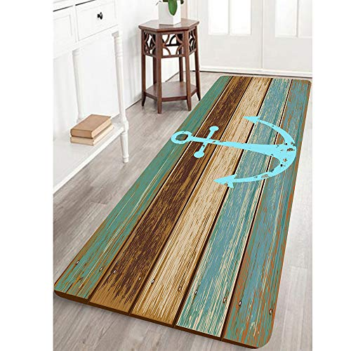 Bathroom Rugs, Kitchen Rug Non-Slip Soft Absorbent Bath Mats with Nautical Anchor Flannel for Bathroom Kitchen and Hallway 24 inches X 71 inches Turquoise/Brown ()