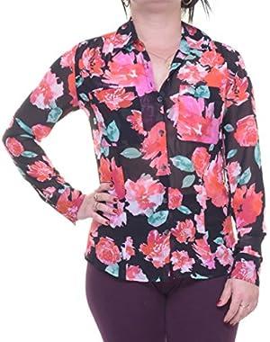 Guess Charlotte Floral-Print Shirt Size XS