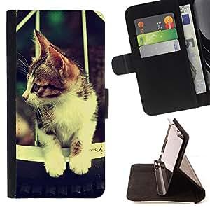 For LG OPTIMUS L90 - Cute Retro Cat Hammok /Funda de piel cubierta de la carpeta Foilo con cierre magn???¡¯????tico/ - Super Marley Shop -