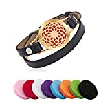 Essential Oil Diffuser Bracelet Aromatherapy Gold Sunflower Stainless Steel Black Adjustable Leather Band with 8 Color Pads for Décor Gift Girls Women