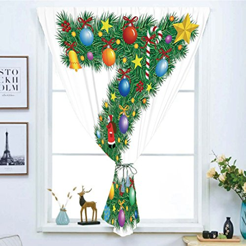 Blackout Window Curtain,Free Punching Magic Stickers Curtain,Letter Z,Traditional Themed Font Design Z with Colorful Ornaments Christmas Santa Claus Decorative,Multicolor,Paste style,for Living Room -