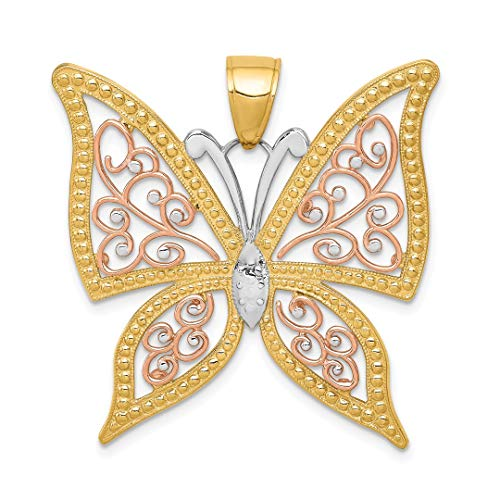 - ICE CARATS 14kt Yellow Rose Gold Butterfly Pendant Charm Necklace Animal Fine Jewelry Ideal Gifts For Women Gift Set From Heart
