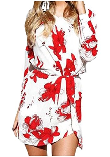 Bodycon Women's Printed Waist Sleeve Long Floral Comfy Dress Red Accept q0EwdR