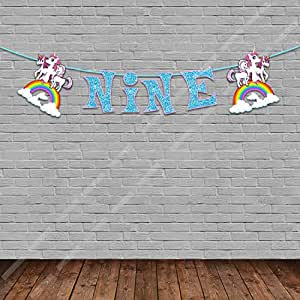 Party Propz Unicorn Theme Age Banner Nine For Unicorn Birthday Party Supplies