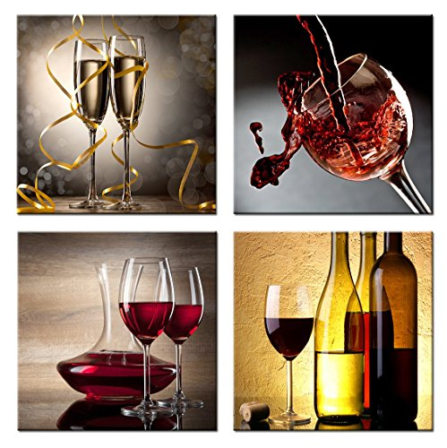 - Home Art Contemporary Art Red Wine Giclee Canvas Prints Framed Canvas Wall Art for Home Decor Perfect 4 Panels Wall Decorations for Living Room Dinning-room Office Each Panel Size:12x12inch