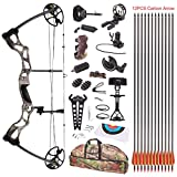 Leader Accessories Compound Bow Hunting Bow 50-70lbs with Max Speed 310fps (Green Camo with Full Accessories)