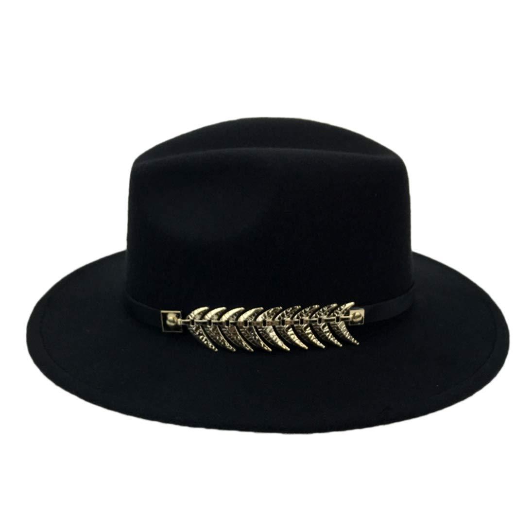 Classic Men Women Black Wool Fashion Fedora Trilby Hat Wide Brim Panama Caps