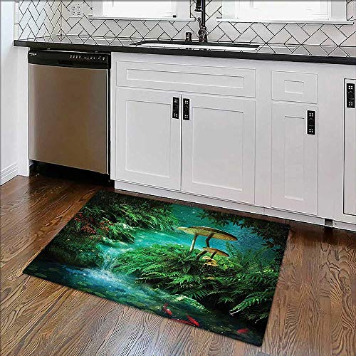 (Non-Slip Bottom Decor Collection View of Fantasy River with A Pond Fish and Mushroom in for Bathrooms or Offices)